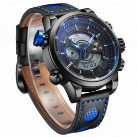 Weide Japan Quartz Leather Strap Men Sports Watch 30M Water Resistance - WH3401 - Black/Blue