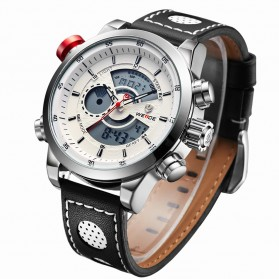 Weide Japan Quartz Leather Strap Men Sports Watch 30M Water Resistance - WH3401 - White/Silver