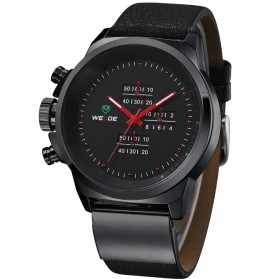 Weide Japan Quartz Miyota Men Leather Sports Watch 30M Water Resistance - WH3305 - Black/Red - 1