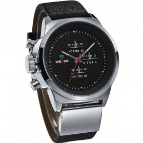 Weide Japan Quartz Miyota Men Leather Sports Watch 30M Water Resistance - WH3305 - Silver Black - 4
