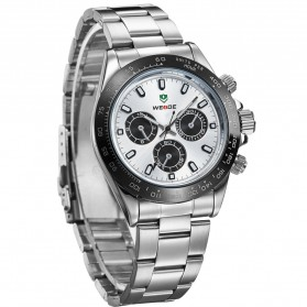 Weide Japan Quartz Stainless Strap Men Sports Watch 30M Water Resistance - WH3309 - White/Silver