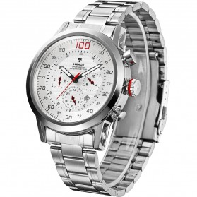 Weide Japan Quartz Stainless Strap Men Sports Watch 30M Water Resistance - WH3311 - White