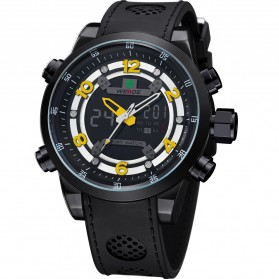 Weide Japan Quartz Silicone Strap Men Sports Watch 30M Water Resistance - WH3315 - Black/Yellow