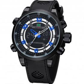 Weide Japan Quartz Silicone Strap Men Sports Watch 30M Water Resistance - WH3315 - Black/Blue