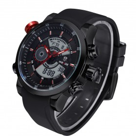 Weide Japan Quartz Silicone Strap Men Sports Watch 30M Water Resistance - WH3401 - Black/Red