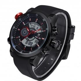 Weide Japan Quartz Silicone Strap Men Sports Watch 30M Water Resistance - WH3401 - Black/Red
