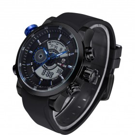 Weide Japan Quartz Silicone Strap Men Sports Watch 30M Water Resistance - WH3401 - Black/Blue