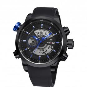 Weide Japan Quartz Silicone Strap Men Sports Watch 30M Water Resistance - WH3401 - Black/Blue - 4