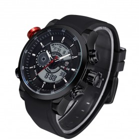 Weide Japan Quartz Silicone Strap Men Sports Watch 30M Water Resistance - WH3401 - Black White