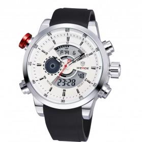 Weide Japan Quartz Silicone Strap Men Sports Watch 30M Water Resistance - WH3401 - White/Silver - 4