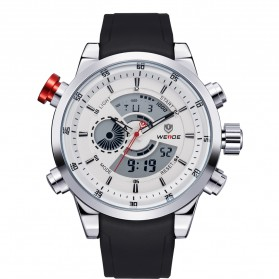 Weide Japan Quartz Silicone Strap Men Sports Watch 30M Water Resistance - WH3401 - White/Silver - 6