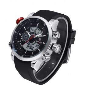 Weide Japan Quartz Silicone Strap Men Sports Watch 30M Water Resistance - WH3401 - Silver Black