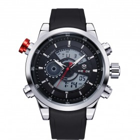 Weide Japan Quartz Silicone Strap Men Sports Watch 30M Water Resistance - WH3401 - Silver Black - 5