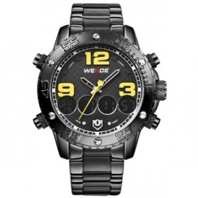 Weide Japan Quartz Stainless Strap Men Sports Watch 30M Water Resistance - WH3405 - Black/Yellow