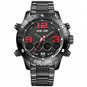 Weide Japan Quartz Stainless Strap Men Sports Watch 30M Water Resistance - WH3405 - Black/Red