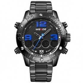Weide Japan Quartz Stainless Strap Men Sports Watch 30M Water Resistance - WH3405 - Black/Blue - 1