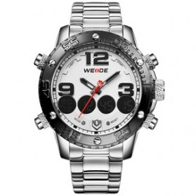 Weide Japan Quartz Stainless Strap Men Sports Watch 30M Water Resistance - WH3405 - White/Silver