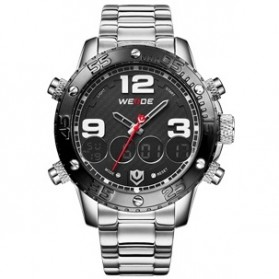 Weide Japan Quartz Stainless Strap Men Sports Watch 30M Water Resistance - WH3405 - Silver Black