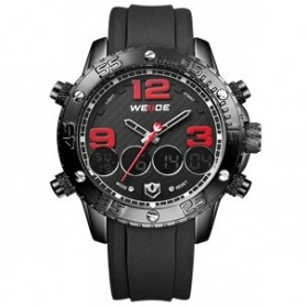 Weide Japan Quartz Silicone Strap Men Sports Watch 30M Water Resistance - WH3405 - Black/Red
