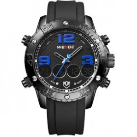 Weide Japan Quartz Silicone Strap Men Sports Watch 30M Water Resistance - WH3405 - Black/Blue
