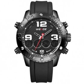 Weide Japan Quartz Silicone Strap Men Sports Watch 30M Water Resistance - WH3405 - Black White