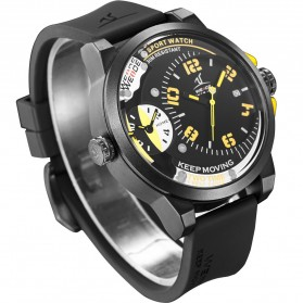 Weide Universe Series Dual Time Zone 30M Water Resistance - UV1501 - Yellow - 2