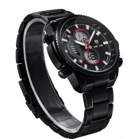 Weide Japan Quartz Stainless Strap Miyota Men Sports Watch 30M Water Resistance - WH3410 - Black/Red