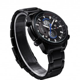 Weide Japan Quartz Stainless Strap Miyota Men Sports Watch 30M Water Resistance - WH3410 - Black Blue