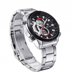 Weide Japan Quartz Stainless Strap Miyota Men Sports Watch 30M Water Resistance - WH3410 - Silver Black