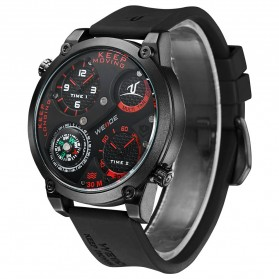 Weide Universe Series Dual Time Zone Compass 30M Water Resistance - UV1505 - Black/Red