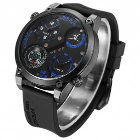 Weide Universe Series Dual Time Zone Compass 30M Water Resistance - UV1505 - Black/Blue - 5