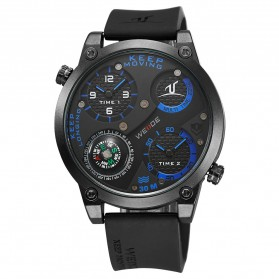 Weide Universe Series Dual Time Zone Compass 30M Water Resistance - UV1505 - Black/Blue - 6