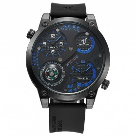 Weide Universe Series Dual Time Zone Compass 30M Water Resistance - UV1505 - Black/Blue - 7