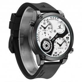 Weide Universe Series Dual Time Zone Compass 30M Water Resistance - UV1505 - White/Black - 2