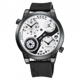 Weide Universe Series Dual Time Zone Compass 30M Water Resistance - UV1505 - White/Black - 6