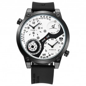 Weide Universe Series Dual Time Zone Compass 30M Water Resistance - UV1505 - White/Black - 7