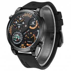Weide Universe Series Dual Time Zone Compass 30M Water Resistance - UV1505 - Black/Orange