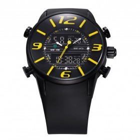 Weide Japan Quartz Silicone Strap Miyota Men Sports Watch 30M Water Resistance - WH3402 - Black/Yellow