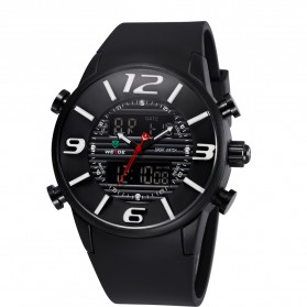 Weide Japan Quartz Silicone Strap Miyota Men Sports Watch 30M Water Resistance - WH3402 - Black with White Side - 4