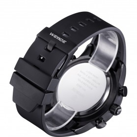 Weide Japan Quartz Silicone Strap Miyota Men Sports Watch 30M Water Resistance - WH3402 - Black with White Side - 6