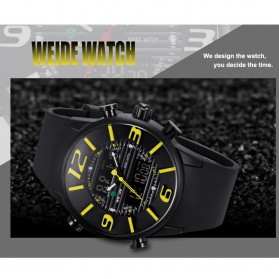 Weide Japan Quartz Silicone Strap Miyota Men Sports Watch 30M Water Resistance - WH3402 - Black with White Side - 7