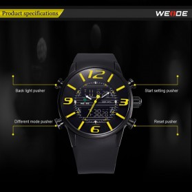 Weide Japan Quartz Silicone Strap Miyota Men Sports Watch 30M Water Resistance - WH3402 - Black with White Side - 10