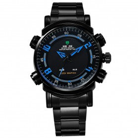 Weide Japan Quartz Stainless Strap Men Sports Watch 30M Water Resistance - WH1101 - Black/Blue - 5