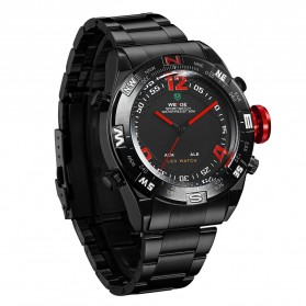 Weide Japan Quartz Stainless Strap Men Sports Watch 30M Water Resistance - WH2310 - Black/Red - 1