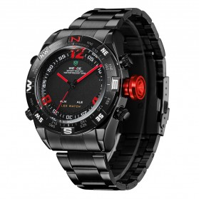 Weide Japan Quartz Stainless Strap Men Sports Watch 30M Water Resistance - WH2310 - Black/Red - 2