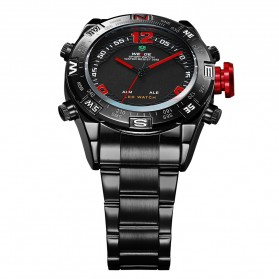 Weide Japan Quartz Stainless Strap Men Sports Watch 30M Water Resistance - WH2310 - Black/Red - 3