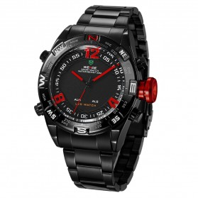 Weide Japan Quartz Stainless Strap Men Sports Watch 30M Water Resistance - WH2310 - Black/Red - 4