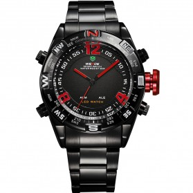 Weide Japan Quartz Stainless Strap Men Sports Watch 30M Water Resistance - WH2310 - Black/Red - 5