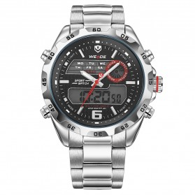 Weide Japan Quartz Stainless Strap Miyota Men Sports Watch 30M Water Resistance - WH3403 - Silver Black