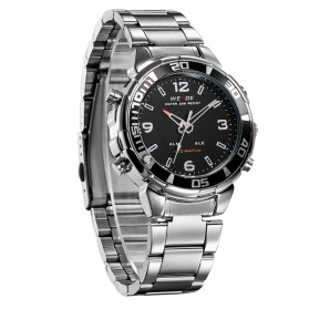 Weide Japan Quartz Stainless Strap Men Sports Watch 30M Water Resistance - WH843 - Silver Black